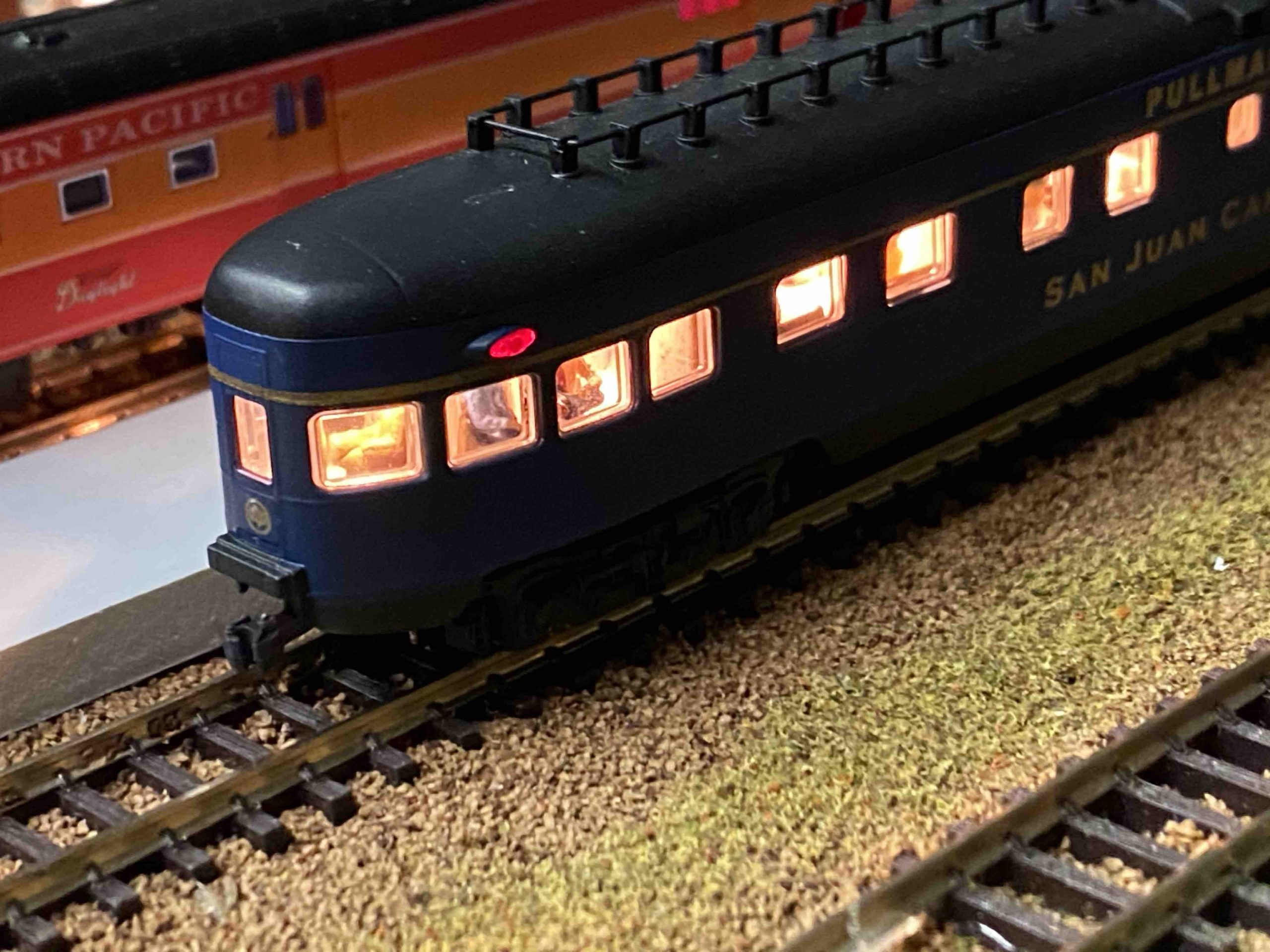 N Scale Passenger Car Lighting installation.